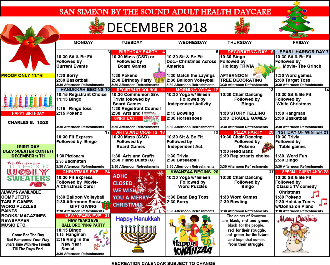 December Adult Day Care Calendar of Events