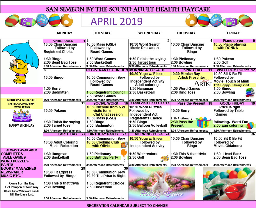 April Adult Day Care Calendar of Events