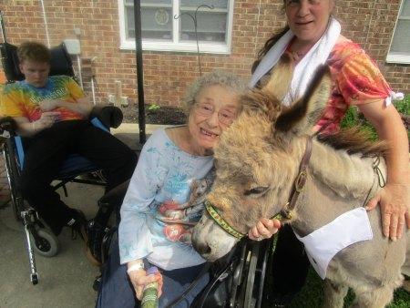resident hugging donkey