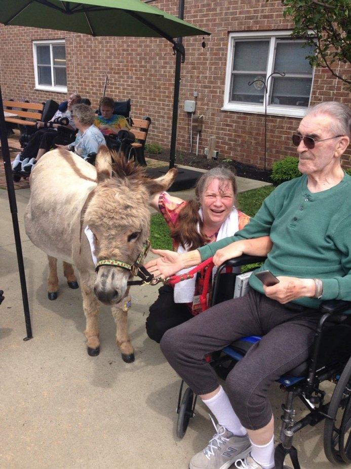 resident with friendly donkey