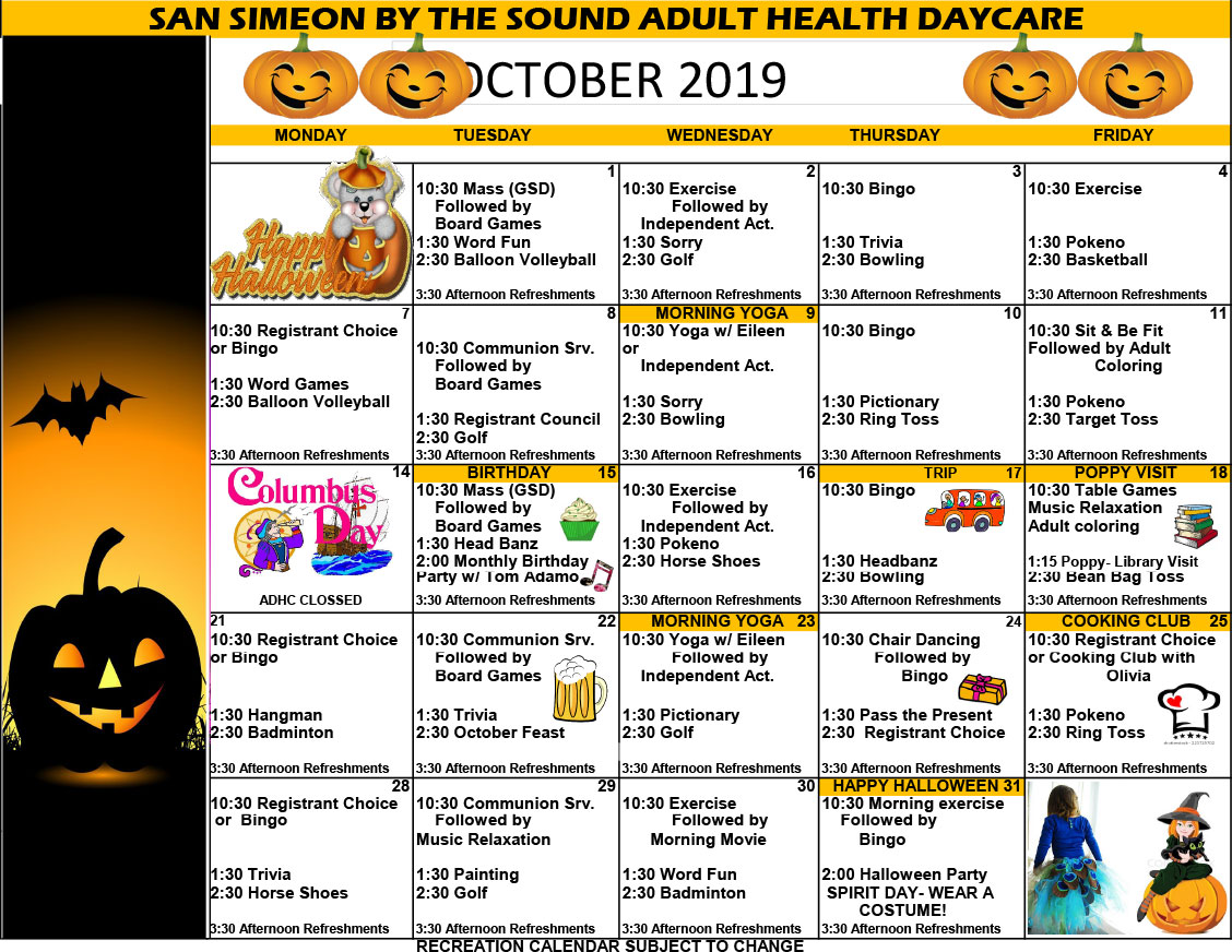 October Adult Day Care Calendar of Events