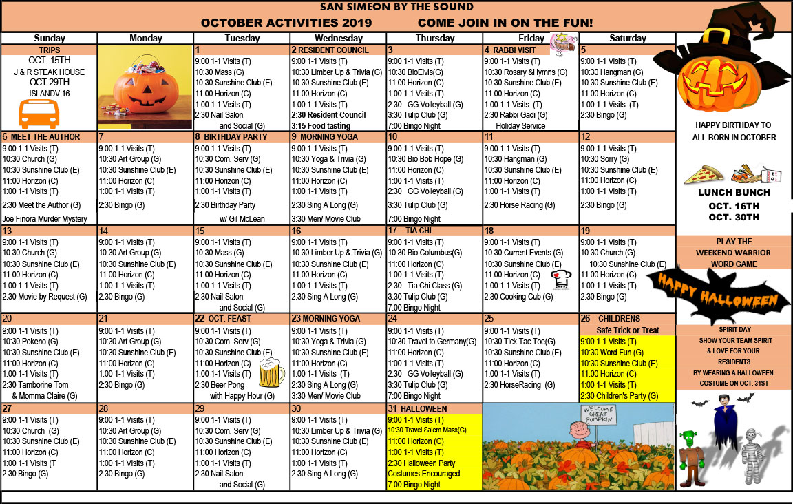 October Calendar of Events