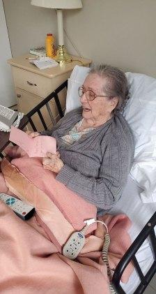 Female San Simeon resident reading Valentine's Day card