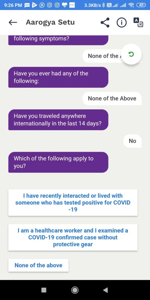 Screenshot 2020 04 15 21 26 18 032 nic.goi .aarogyasetu आरोग्य सेतु Apps कोरोना वायरस Surksha Kavach