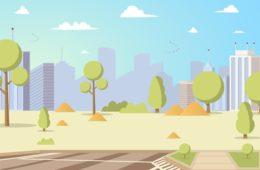 Vector Illustration Cartoon City Park Panoramas