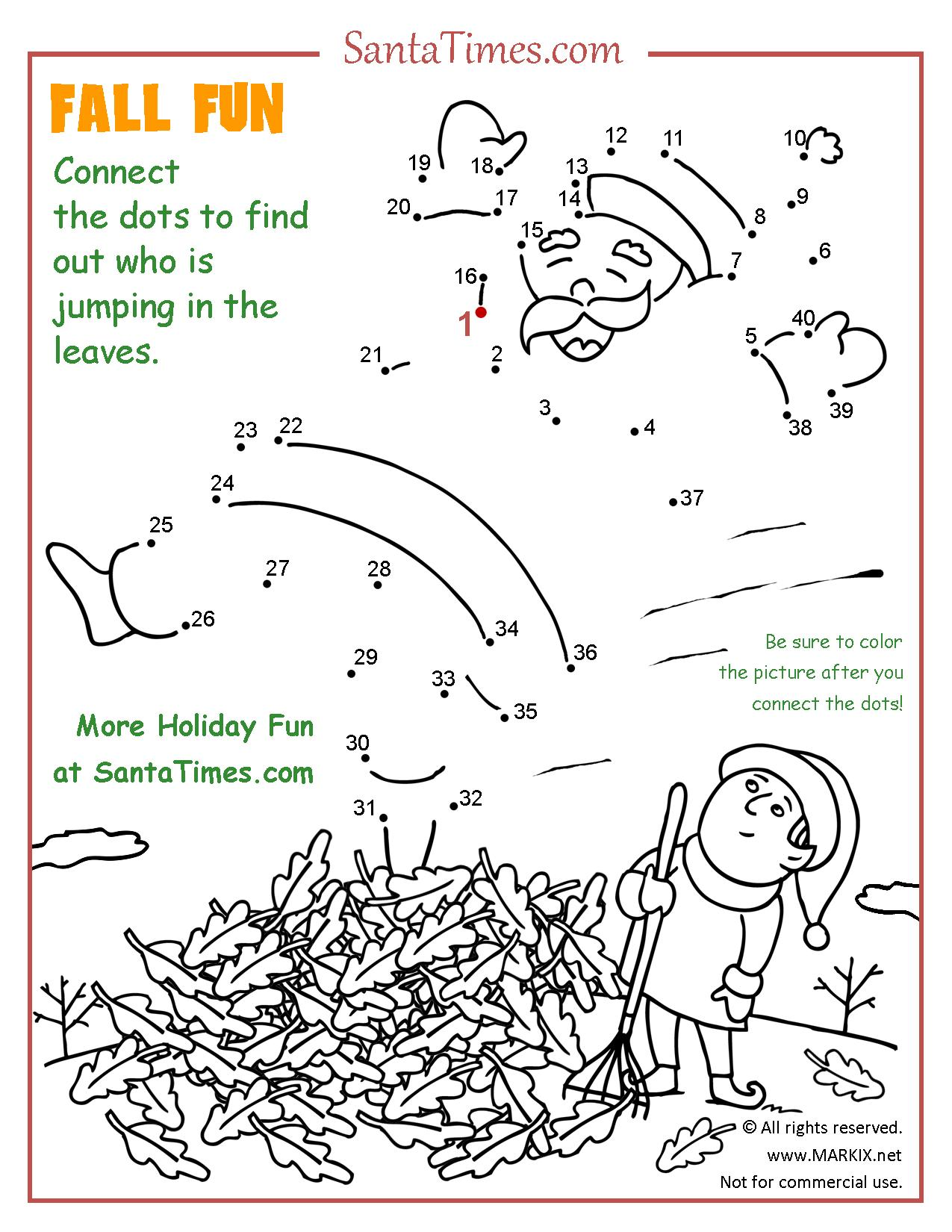 Fall Fun At The North Pole Printable Dot To Dot Connect
