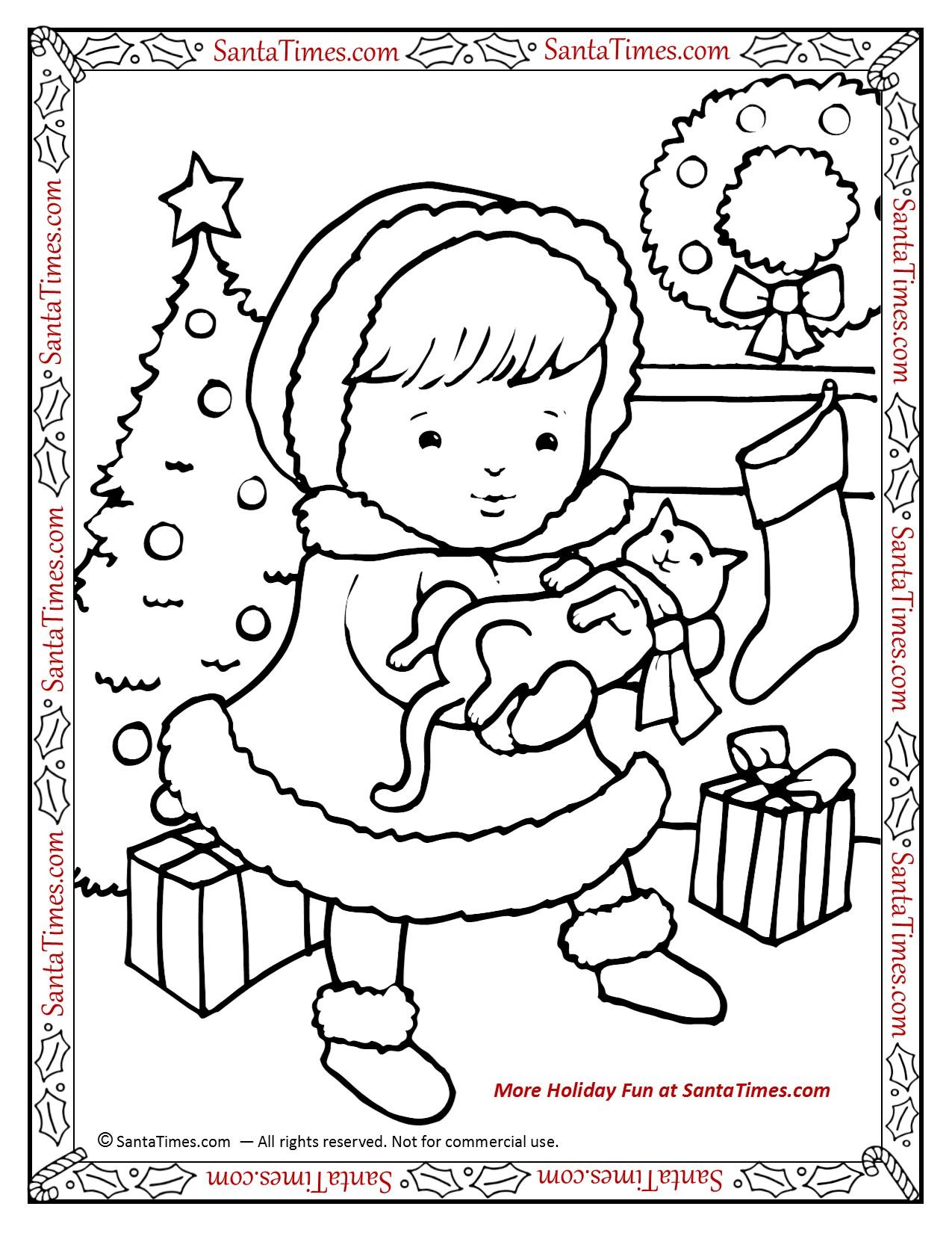 Hello Christmas Kitty Printable Coloring Page