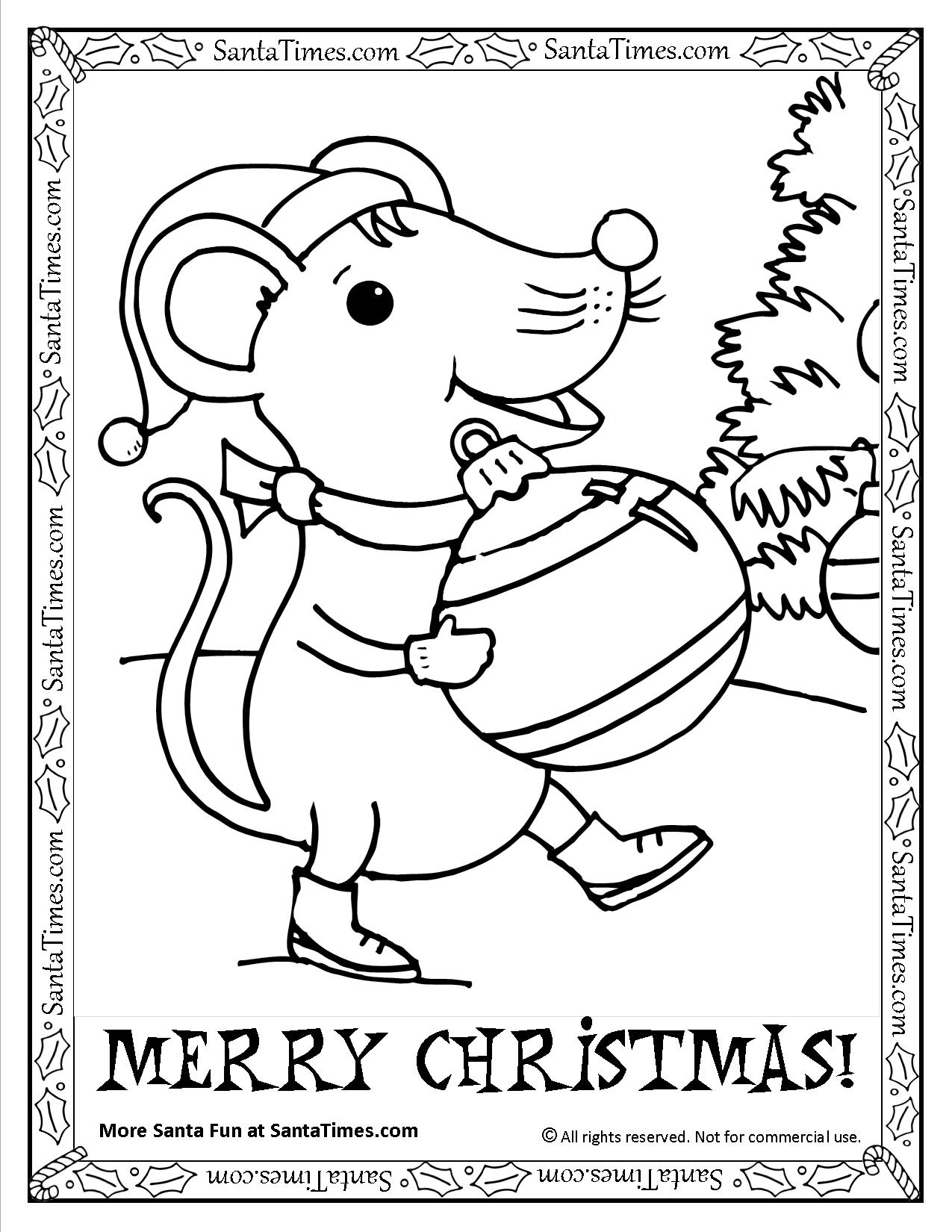 Merry Christmas Mouse Printable Coloring Page