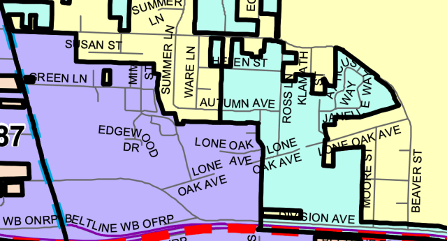 Zoom graphic of wards south of Hunsaker and east of River Road