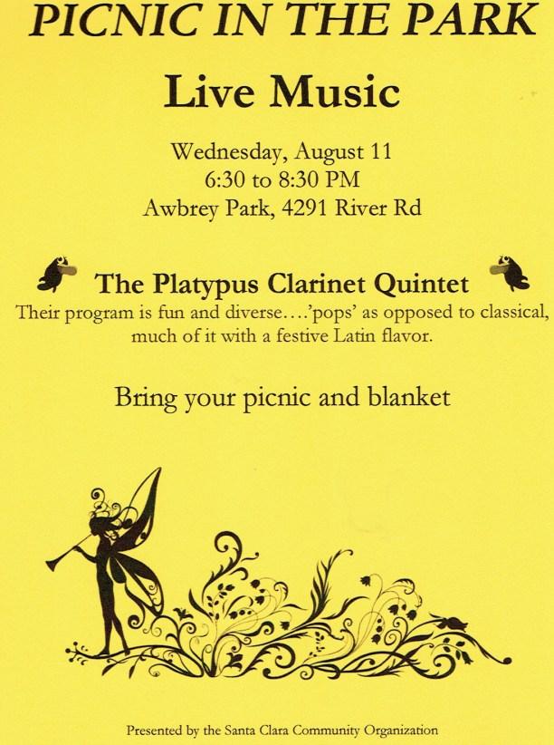 Yellow flier for Awbrey Park picnic, August 11