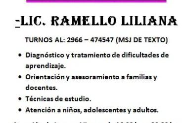 Lic. en Psicopedagogia Ramello Liliana