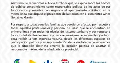 UNIDOS: Le solicitamos a la gobernadora Alicia Kirchner el inmediato apartamiento del ministro de salud y ambiente Claudio García