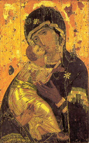 The icon is displayed in the Tretyakov Gallery, Moscow