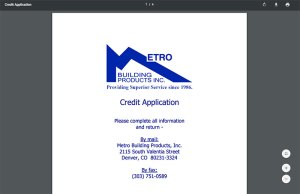 Metro Building Products Credit App PDF