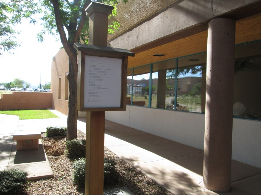 Poetry post on SFCC campus.