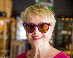 A photo of Carol in her colorful Thierry Lasry sunglasses.