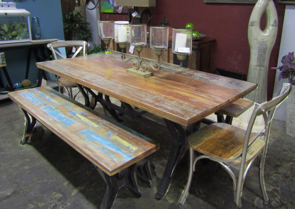 Distressed dining table & bench