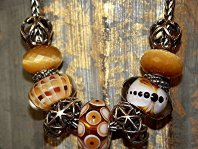 Trollbeads Jumbo Uniques with Cat's Eye Quartz create a bold necklace.