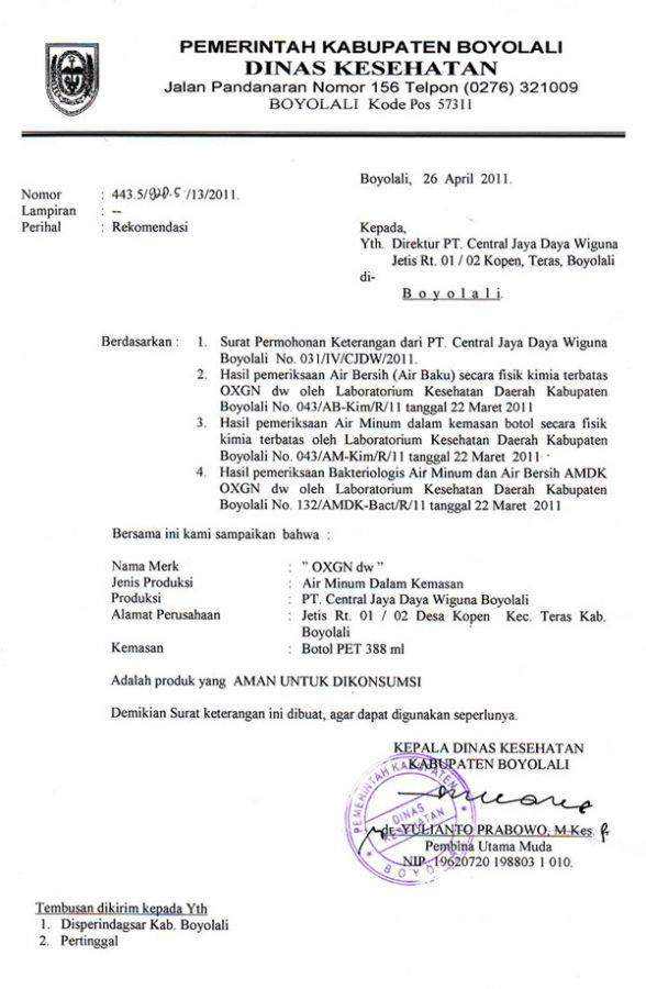contoh surat dinas kesehatan