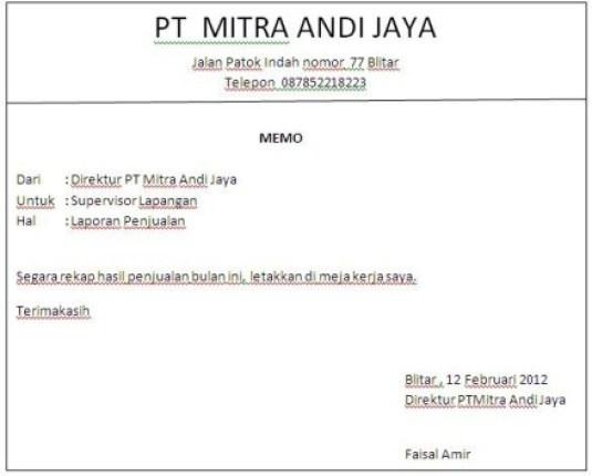 contoh memo resmi perusahaan