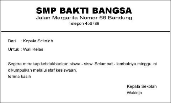 contoh memo resmi sekolah