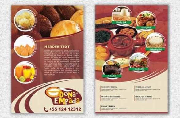 contoh brosur makanan desain keren