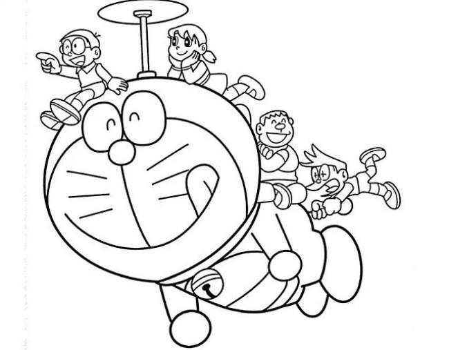 Gambar Doraemon Hitam Putih