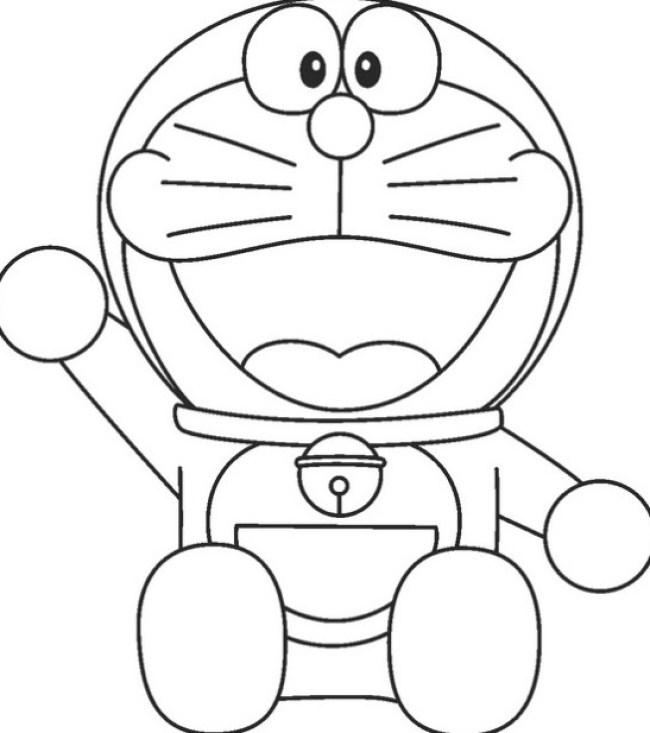 sketsa Doraemon Hitam Putih