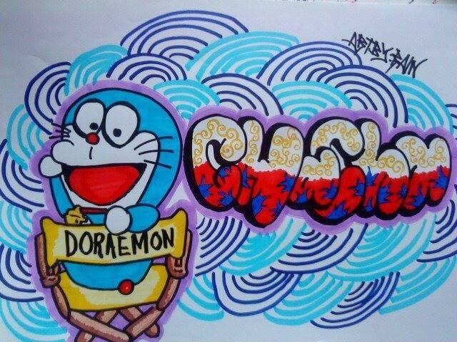 Gambar Grafiti Doraemon