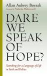 november 2015 book study cover dare we speak of hope