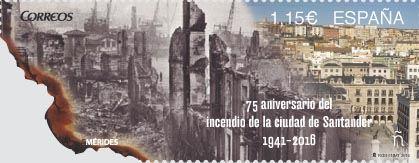 Correos emite un sello conmemorativo del 75 aniversario del Incendio de Santander