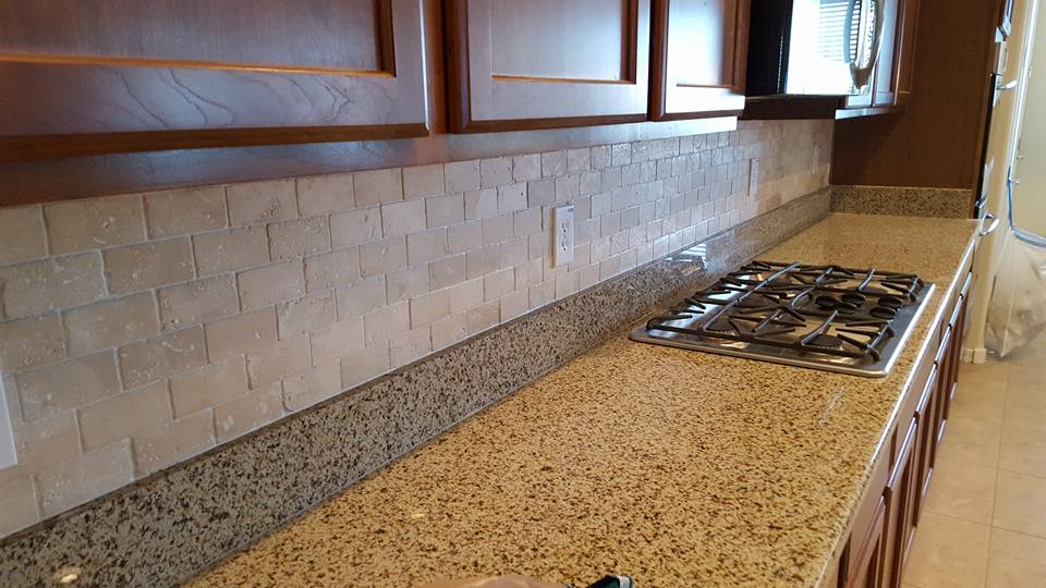 travertine subway tile backsplash