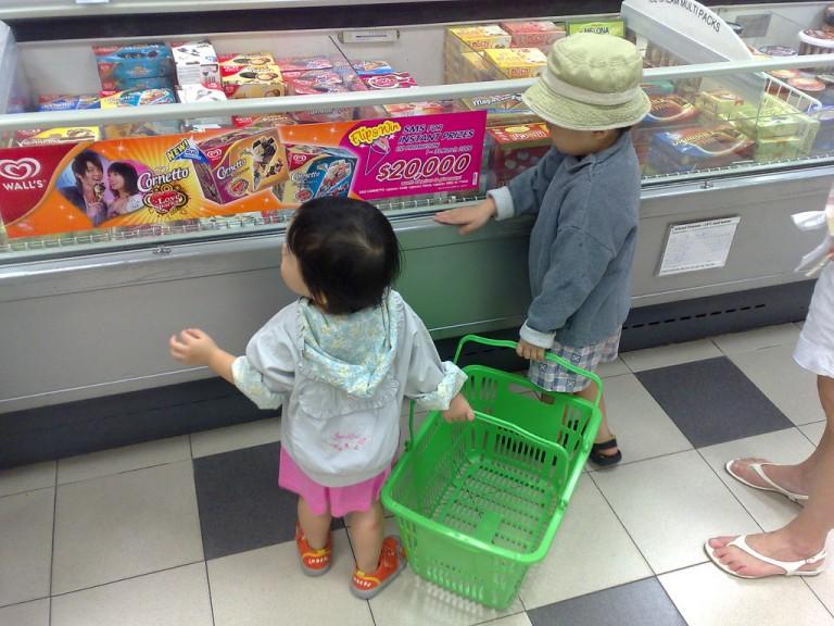 Aliments tentants au supermarché