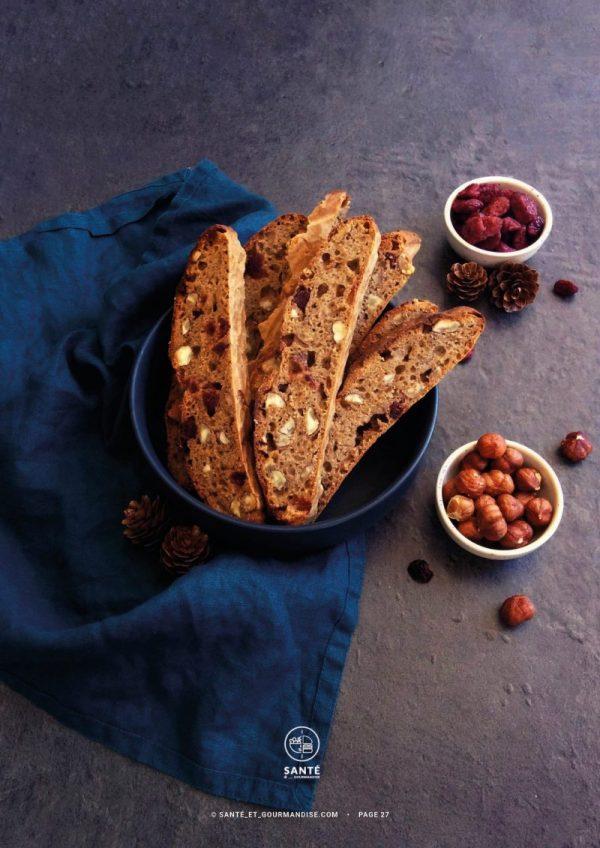 Cuisiner au levain à IG bas _ pain noisette cranberries _ santé et gourmandise