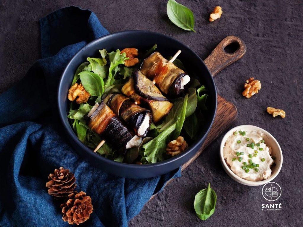 Roulés d'aubergines à la ricotta vegan _ santé et gourmandise