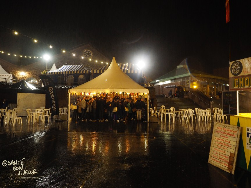 Night Market in the Rain, Abergavenny Food Festival, Wales, UK, 2017