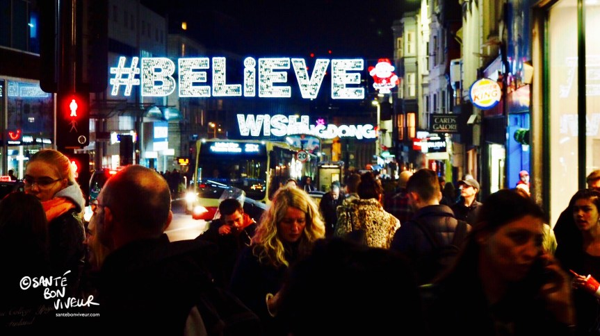 #Believe, Wish, Ding Dong, Christmas Lights, Brighton, England, UK, 2017