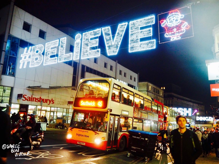 #Believe in Santa, 45 bus, Sainsbury's, Christmas Lights, Brighton, England, UK, 2017