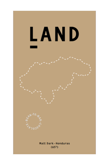 Land Chocolate's Malt Dark Bar with extra long roasted cocoa beans from Honduras.
