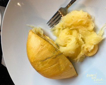 Discard the Spaghetti Squash skin after pulling out the noodley-strands