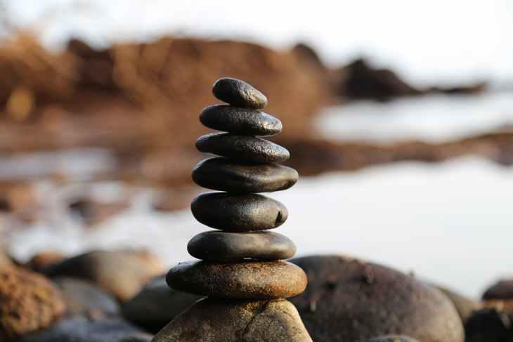 balance blur boulder close up