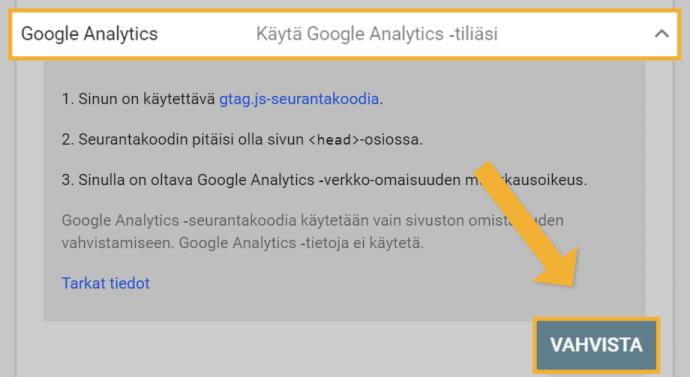 Search Consolen vahvistaminen Google Analyticsilla
