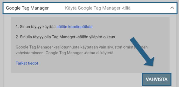 Search Consolen vahvistaminen Google Tag Managerilla