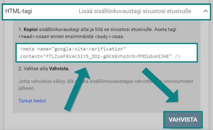 Search Consolen vahvistaminen HTML-tagilla