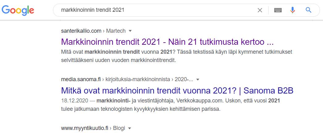 Markkinoinnin trendit 2021 ensimmäinen sijoitus