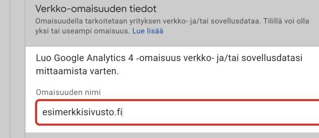 Google Analytics 4 omaisuuden nimi