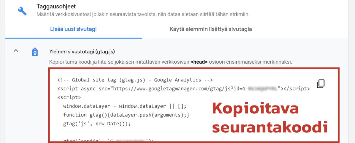 Google Analytics 4 seurantakoodi