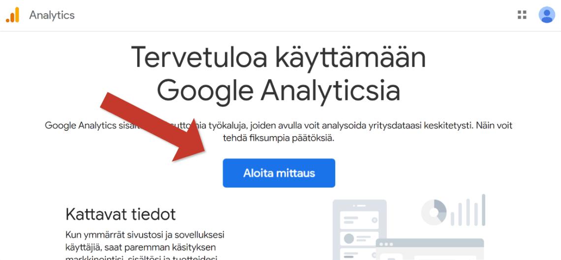 Google Analyticsin etusivu