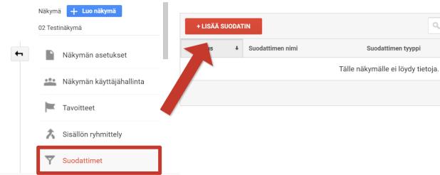 Lisää uusi Google Analyticsin suodatin