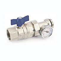 GF Кран шаровый 1″ с термометром синяя/бантик (Италия)